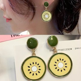 Wholesale Women Fruit Green Kiwi Dangle Earrings for Women Luxury wholesale Jewelry VGE068