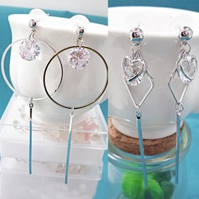 Wholesale New Fashion Geometric Long Asymmetrical Earrings Rhinestone Round Crystal Earrings   VGE070