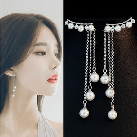 Wholesale New Fashion Hyperbole Temperament Elegant Long Drop Earrings for Women Female Tassel Simulated Pearl Pendant Earrings VGE072