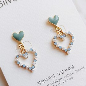 Wholesale Charmsmic Pearl Heart Dangle Earrings For Women Geometric Drop Earrings New Korean Fashio Lady Wedding Jewelry 2020 VGE074
