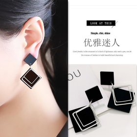 Wholesale Geometric Square Earrings for Women Hanging Dangle Earrings Gold Black Color Fashion Statement Earrings Female Jewelry VGE076