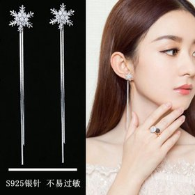 Wholesale Snowflake Tassel Earrings Christmas Snowflake Stud Earrings Pendant Rhinestone For Women Party Jewelry VGE077