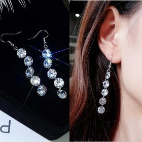 Wholesale New Arrivals Hot Fashion Long Statement Tassel Crystal Drop Earrings For Women Jewelry VGE082