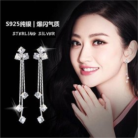 Wholesale Luxury square  Zircon Long Drop Earrings with Silver Color Tassel Korean Wedding Earring for Women Party Jewelry VGE083