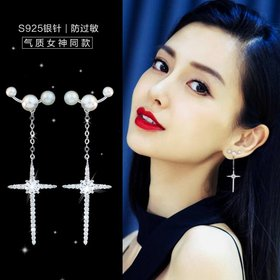 Wholesale Long Drop Earring Imitation Pearl Geometric Cross Earring Dangle Earrings For Women Girl Wedding Party Jewelry Gift 2020 Hot New VGE086