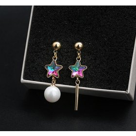 Wholesale Elegant imitation pearl colorful Star Long Tassel earring  Fashion Personality Pendant High Quality VGE088