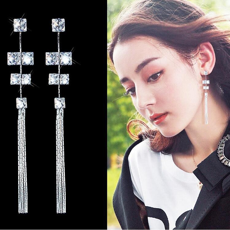 Wholesale Women's Earrings Hanging Rectangular Zircon Tassel Earrings Fashion Charm Banquet Engagement Earrings VGE092