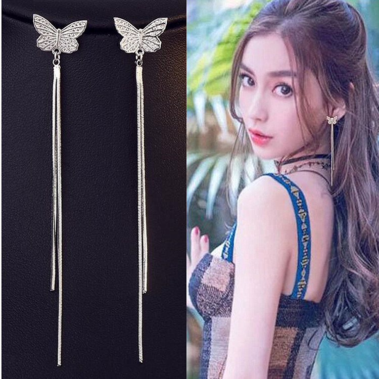 Wholesale Long Tassel Butterfly Drop Earrings Silver Color 2020 Fashion Hanging Women Earrings Summer Jewelry Girls GIfts VGE093