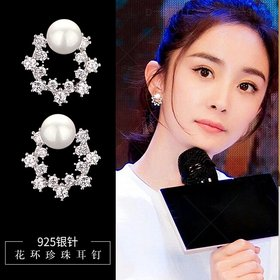 Wholesale Fashion Cute Exquisite Flower Stud Pearl Crystal Earings White Zircon For Women Jewelry Wedding Party Gifts  VGE094