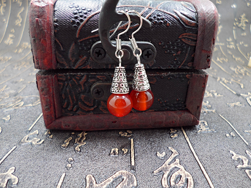 Wholesale Natural gem earrings vintage tibetan earrings for women red onyx ethnic fine jewelry women gift VGE095 0