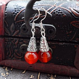 Wholesale Natural gem earrings vintage tibetan earrings for women red onyx ethnic fine jewelry women gift VGE095