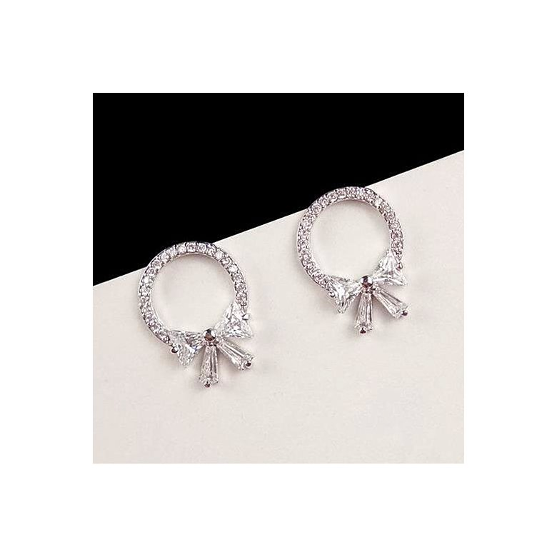 Wholesale 2020 New hot fashion high-quality zircon bow  stud earrings silver needle earrings party jewelry VGE097