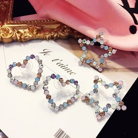 Wholesale New Arrival  color Crystal Trendy Star heart  Women Dangle Earrings fashion Jewelry  VGE108
