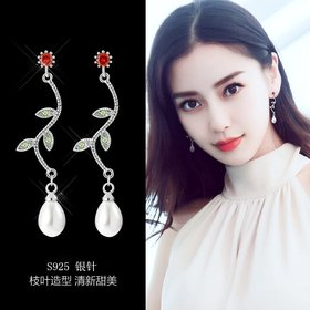 Wholesale Sequins Flowers Leaves Pendant Earrings Pearl Tassel Earrings for Women Crystal Drop Earrings Long Earring for Girl VGE127