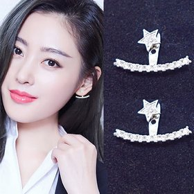 Wholesale Fashion silver color Earrings for Women Luxury zircon Symmetrical Curved  Star Tassel  Earring Jewelry VGE128