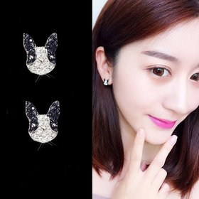 Wholesale New Cute Little Colorfully Pet Cartoon Dog Stud Earrings for Women Lovely Bulldog Earrings Puppy Fashion Jewelry VGE130