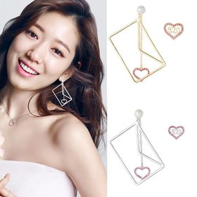 Wholesale Heart envelope Long Drop Earrings For women crystal Geometric dangling Earring wedding Jewelry VGE131