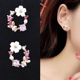 Wholesale Korean Style Shell Flower Delicate Zircon Long Dangle Earrings For Women Temperament Jewelry VGE132