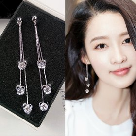 Wholesale  New arrival zircon love tassel pendant earrings Korean fashion earrings light luxury gift statement earrings for women VGE133