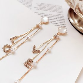 Wholesale Women Earrings Set Elegant Pearl Crystal LOVE Letter Pendant Tassel Long Gold Earring Classic Wedding Party Jewelry VGE134