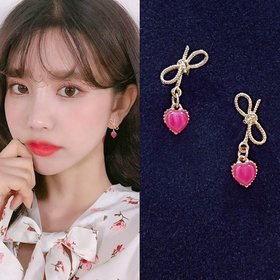 Wholesale Bowknot Heart Earrings for Women Girl Elegant Gold Color Alloy Shiny crystal Earrings Wedding Jewelry VGE135