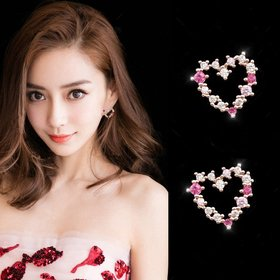 Wholesale Cute Tiny Flower Circle Wreath Love Heart Earrings for Women Water Drop Rhinestone Pendant Accessories Earring VGE137