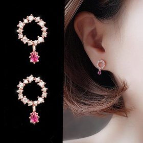 Wholesale Cute Tiny Flower Circle Wreath Love roundness Earrings for Women Water Drop Rhinestone Pendant Accessories Earring VGE138