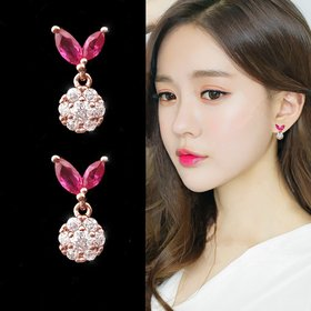 Wholesale Fashion Creative Butterfly Flowers Crystal Dangle Earrings for Women Rose Gold Zircon Sweet ball Drop Earring Jewelry Gift VGE139