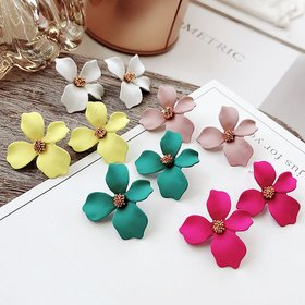 Wholesale New Style Spray Paint Big Flower Stud Earrings For Women Fashion Summer Accessories Elegant Sweet Brinco VGE141