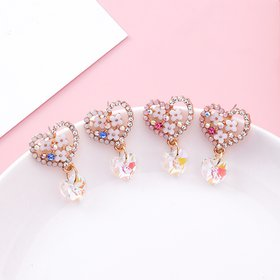 Wholesale Cute Love Heart Flower Earrings Jewelry Trendy CZ Crystal Hoop Earrings For Women Girls VGE142