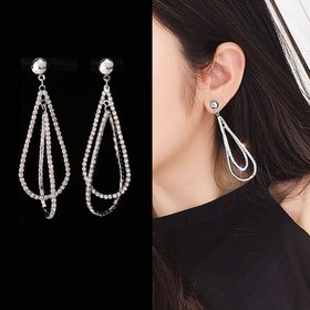 Wholesale Women's Zircon Earrings Pendant Long Earring Fashionable Women's Jewelry Party Gift VGE145
