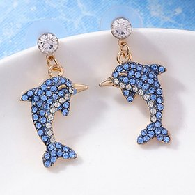 Wholesale Little Dolphin crytal Ear Studs Earrings For Women Cute Little Animals Marine Organism Fine Jewelry Unique Earring VGE147