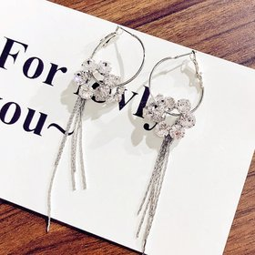 Wholesale New Fashion shiny Zircon Petal Tassel  Earrings for Women Bridal Dating Wedding Jewelry VGE148