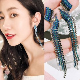 Wholesale New Trendy Bride Rhinestone Long Tassel Earrings Luxury Crystal Big Drop Dangle Earrings For Women Wedding Party Jewelry  VGE149