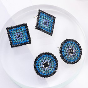 Wholesale Elegant Small Round and square Stud Earrings for Women Dating Gradient blue zircon Fashion Jewelry Gift VGE150