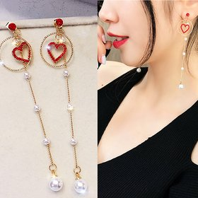 Wholesale New Korean Charm Pearl Tassel Crystal Love Heart Clip Earrings for Women Fashion Earring Luxury Jewelry VGE164