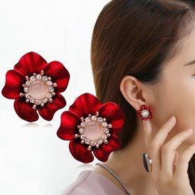 Wholesale Fashion Jewelry Ethnic big Red Drop Earrings Big pebble Earrings Vintage For Women Dangle zircon Earring VGE165