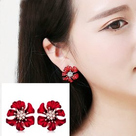 Wholesale Fashion Jewelry Ethnic big Red  camellias Drop Earrings Vintage For Women Dangle zircon Earring VGE166