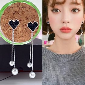 Wholesale Korean Pearl Blue Crystal Love Heart Tassel Long Drop Earrings for Women Fashion Drop Earring Charm Luxury Jewelry Pendientes VGE167