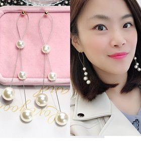 Wholesale Korean Popular New Smooth Pearl Tassel Earrings for Women Girls Baroque Style Female Temperament Jewelry Gift  VGE168