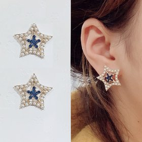Wholesale Korean Fashion Five-pointed Star Pearl Earrings Simple Design  Earrings For Women Girl Party Wedding Jewelry Gifts VGE170
