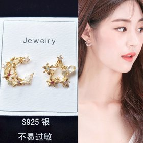Wholesale New Arrival Fashion Classic Geometric Women Dangle Earrings Asymmetric Earrings Of Star And Moon Female Korean Jewelry VGE173
