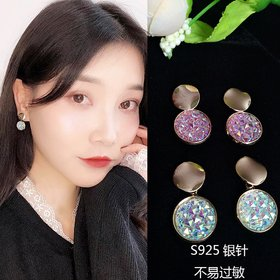 Wholesale New Fashion Round Drop Earrings Women's Geometric Mermaid Sequins Alloy 5 Color Earrings Korean Gold Bijoux Jewelry Gifts VGE175