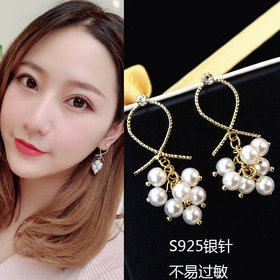 Wholesale 2020 European American new exaggerated fashion rhinestone earrings grape string pearl dangle earrings hipster jewelry gift VGE178