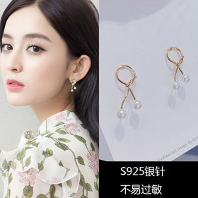 Wholesale  Imitation Pearl knotted Female Elegant Earrings Simple Temperament Korean Fashion Sweet Delicate Earrings Bride Wedding Jewelry VGE179