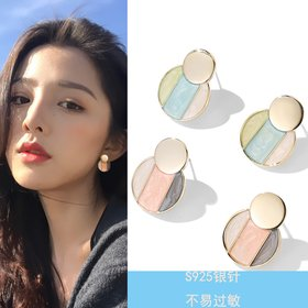 Wholesale Fashion wholesale jewelry Metal geometry earrings three color matching earrings, Japan Korea ladies street snap earrings VGE180