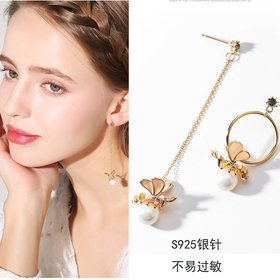Wholesale High Quality Hot Design Honey Zircon Asymmetric Bee Pearl Earrings Golden For Women Fashion Luxury Jewelry VGE181