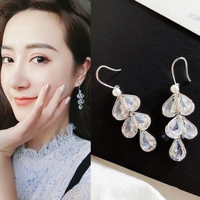 Tassel Earrings 2020 Trendy Water Drop Women Dangle Earrings Crystal Flower Long Pendant Earrings For Women jewelry