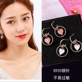 Colorful Crystal Stone Love Heart Circle Earrings Jewlery for Women fashion Gift