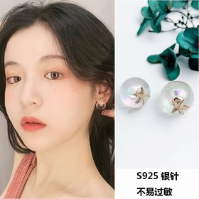 Korea New Design Hot Sale Fashion Jewelry Exaggerated Glass Ball Personality  Earrings Simple Round Vacation Earrings
